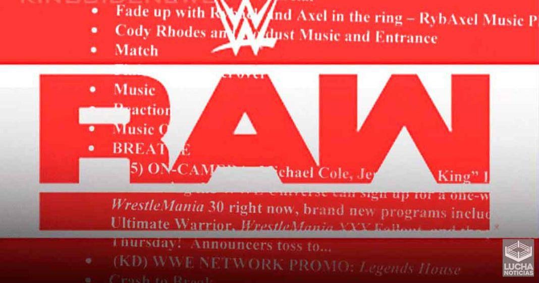 WWE terminó el guión de RAW 7 minutos antes de iniciar