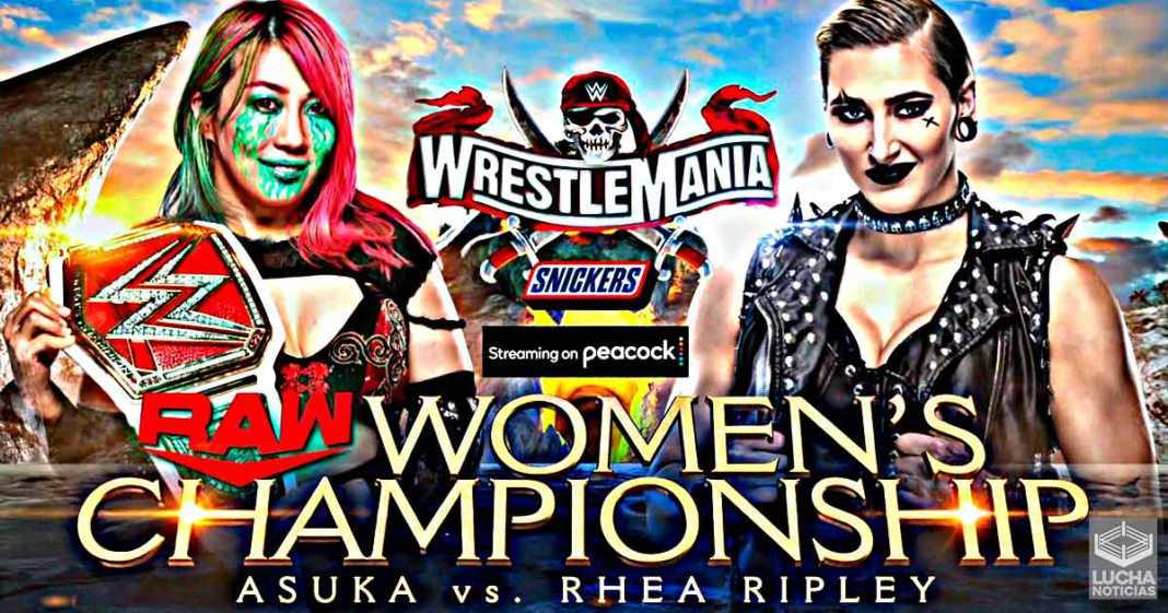 Asuka vs Rhea Ripley en WrestleMania 37