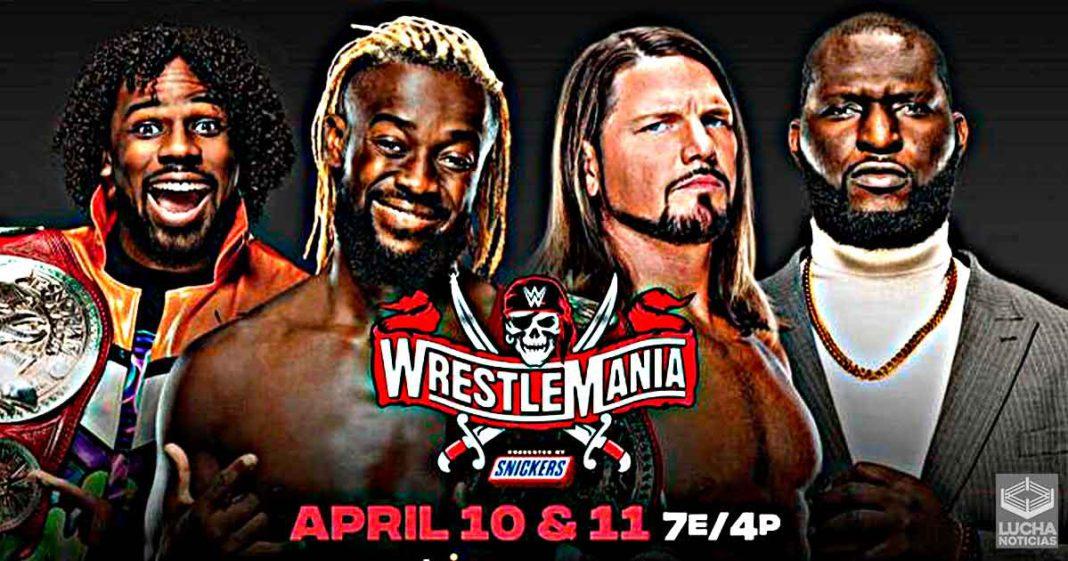 New Day vs AJ Styles y el negro alto en WrestleMania 37