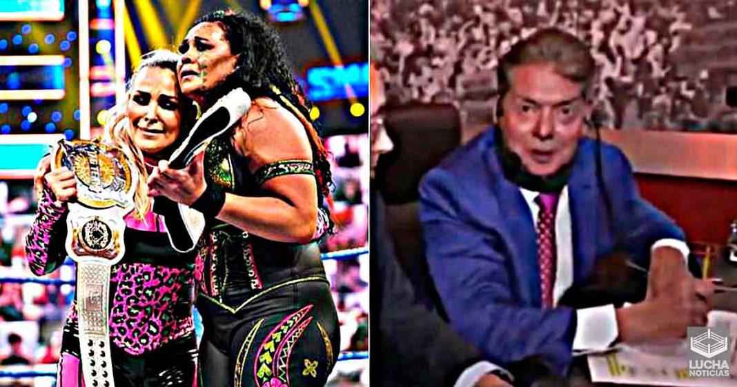 Reacción de Vince McMahon después de la victoria de Natalya y Tamina